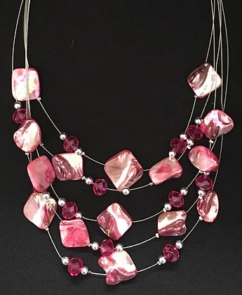 Pink Shell and Bead Necklace