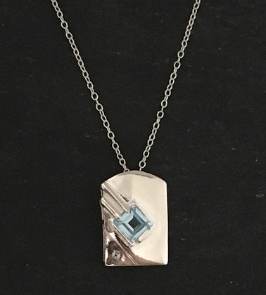 Kite and Silver Rectangle Blue Topaz Pendant