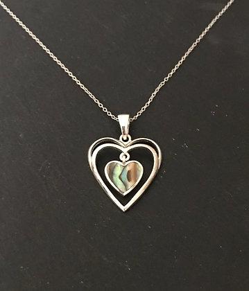 Paua Shell and Silver Heart Pendant