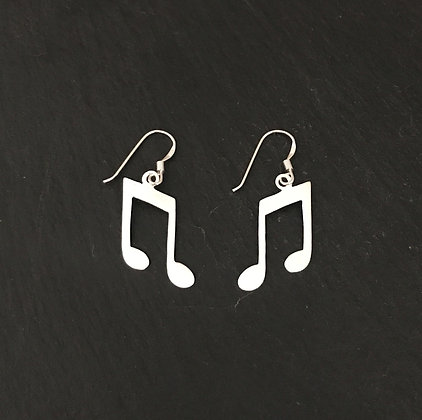 Satin Finish Silver Music Note Earrings