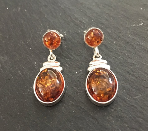 Two Stone Amber Drop Earrings