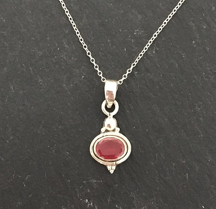 Oval Ruby and Silver Pendant