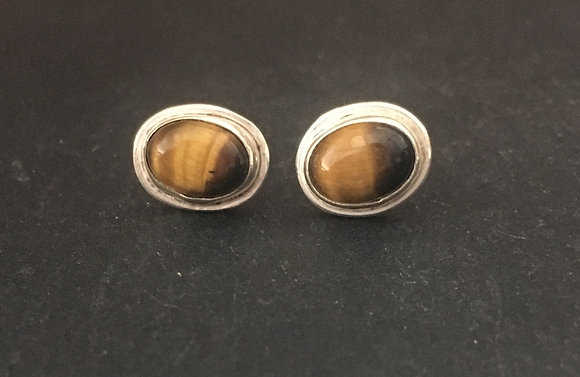 Tiger's Eye and Silver Studs