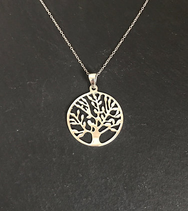 Round Silver Tree of Life Pendant