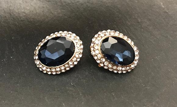 Dark Blue Clip On Earrings