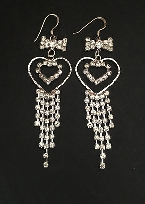 Heart Drop Bling Earrings