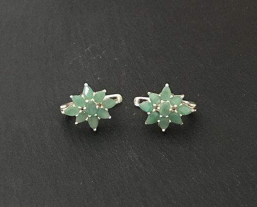 Cluster Emerald Stud Earrings