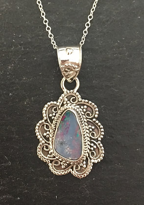 Fire Opal and Silver Design Pendant