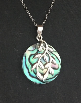Paua Shell and Silver Pendant