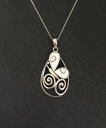 Shiva Shell and Silver Butterfly Pendant