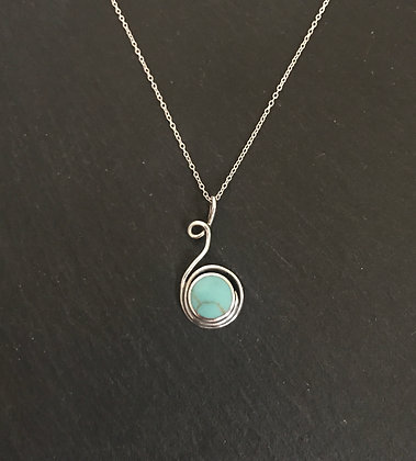 Round Turquoise and Silver Pendant