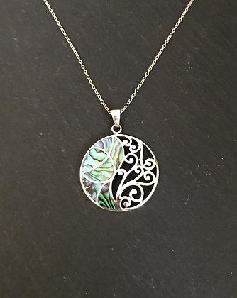 Paua Shell and Silver Pendant
