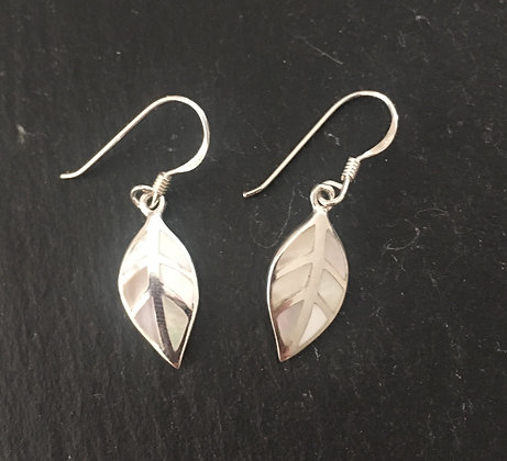 Mother of Pearl and Silver Leaf Earrings