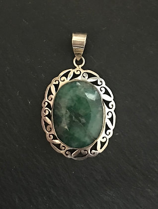 Oval Emerald and Silver Pendant