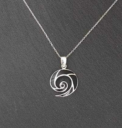 Black Onyx Swirl Pendant