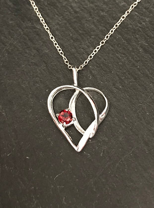 Garnet and Silver Heart Pendant