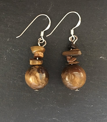 Tiger's Eye Chip and Ball Drop Earrings