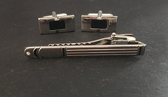 Black Cufflink and Tie Pin Set
