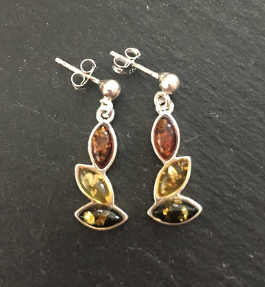 Tri-Colour Amber Drop Earrings
