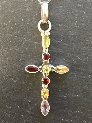 Mixed Stone Cross Pendant