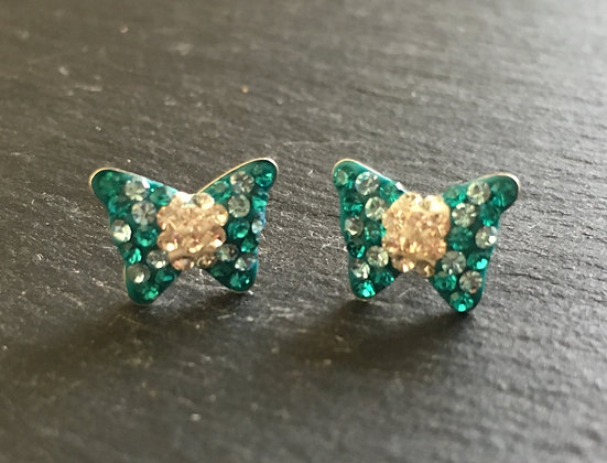 Cubic Zirconia Butterfly Stud Earrings