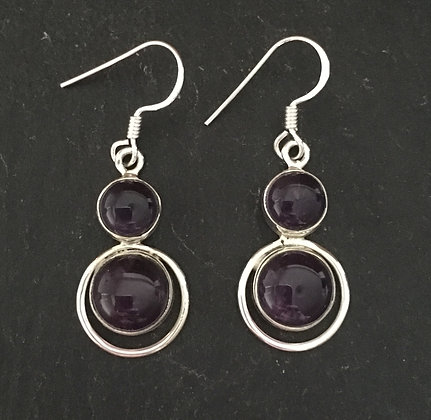 Amethyst Cabochon Drop Earrings