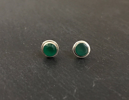 Round Emerald Stud Earrings