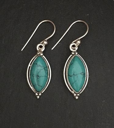 Diamond Shape Turquoise Earrings