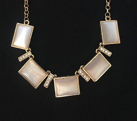 Cream and Gold Bling Necklace