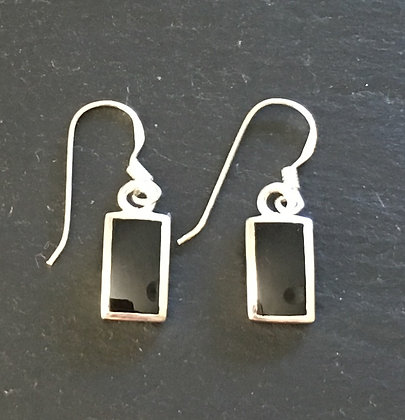 Black Onyx and Silver Rectangle Drop Earrings