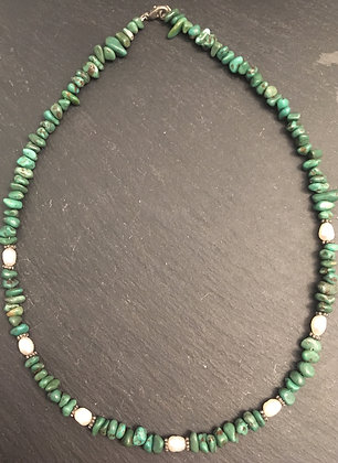 Natural Turquoise Chip and Pearl Necklace