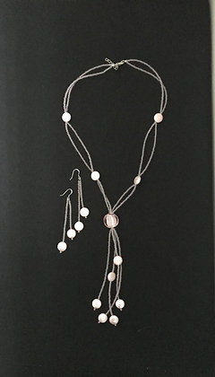 Pink Coin Pearl Set