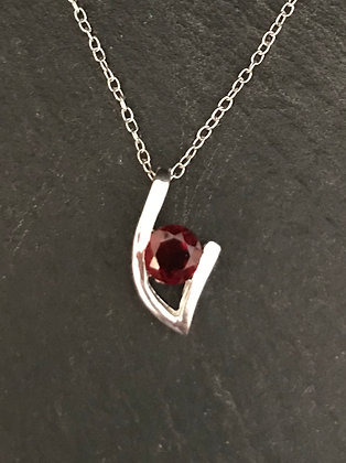 Garnet and Silver Pendant