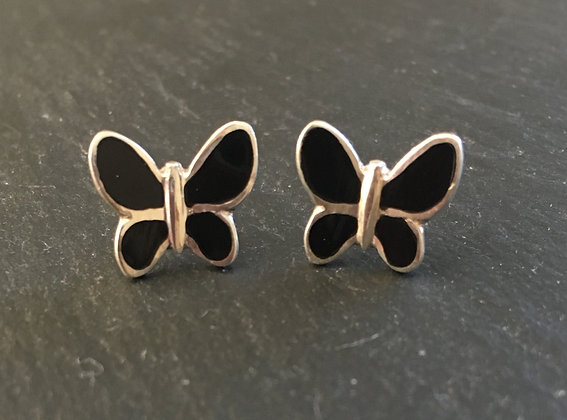 Black Onyx Butterfly Stud Earrings