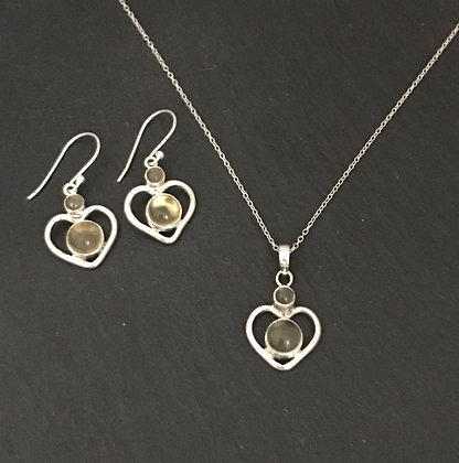 Citrine and Silver Heart Set