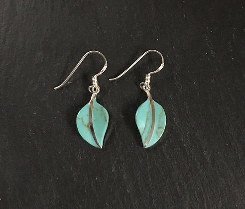 Turquoise and Silver Leaf Earrings