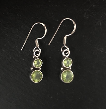 Two Stone Peridot Drop Earrings