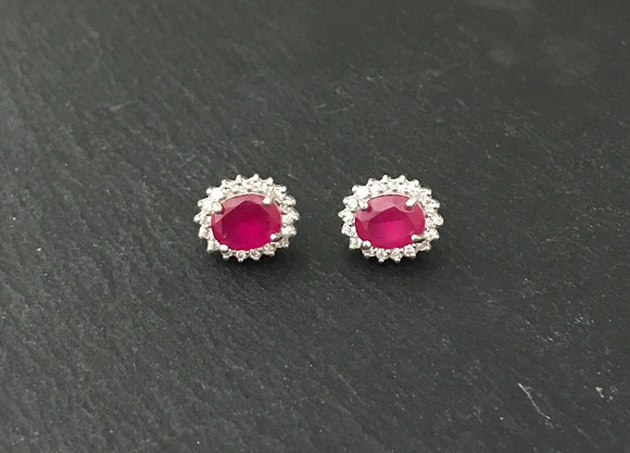 Ruby and Cubic Zirconia Studs