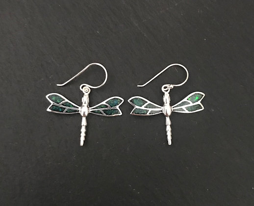 Synthetic Opal Dragonfly Earrings