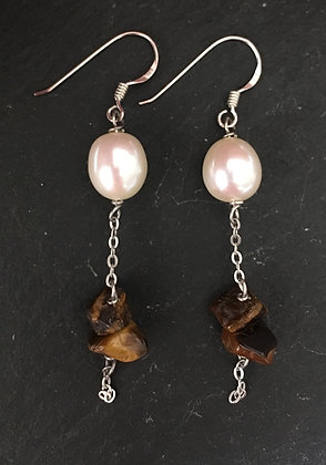 Tiger's Eye and Pearl Drop Earrings