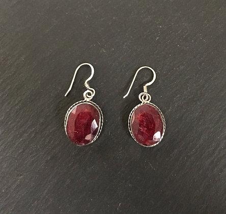 Oval Ruby Drop Earrings