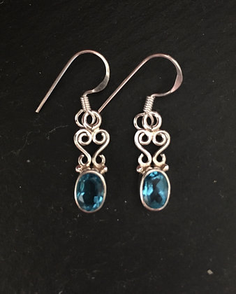 Blue Topaz and Silver Drop Earrings