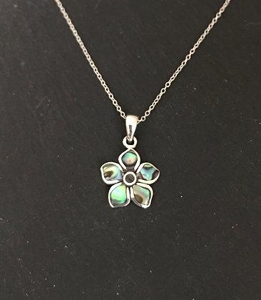 Paua Shell Flower Pendant