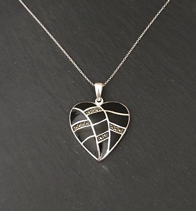 Black Onyx and Marcasite Heart Pendant