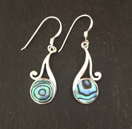 Paua Shell Round Earrings