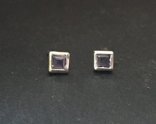 Small Iolite Square Studs