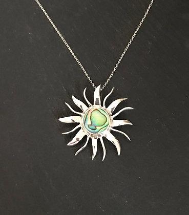 Paua Shell and Silver Sun Pendant