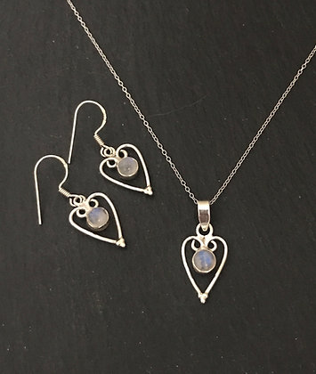 Moonstone and Silver Heart Set