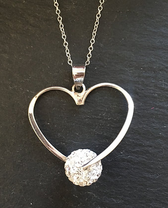 Cubic Zirconia and Silver Heart Pendant