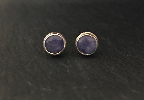 Round Sapphire and Silver Studs